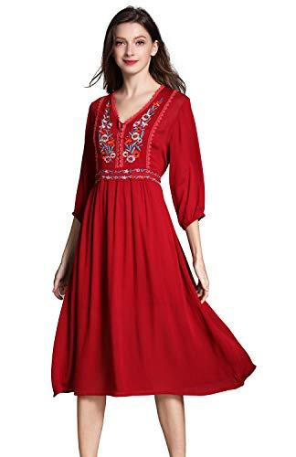 shineflow Damen Frauen Vintage Sommerkleider Kleid Mexikanischen Ethnischen Bestickt Minikleid Blume Stickerei Kleid (M, Rot)
