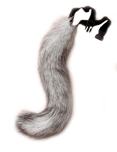 DRESHOW Fox Fur Tail Cosplay Costume Party Super Huge Fluffy Tail for Teen Adult Grey