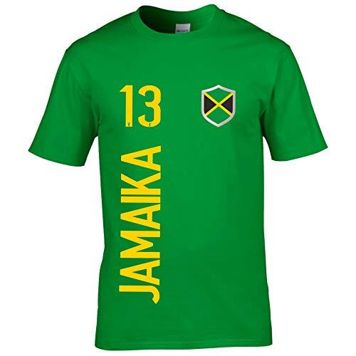 FanShirts4u Herren Fan-Shirt Jersey Trikot - Jamaika/Jamaica - T-Shirt inkl. Druck Wunschname & Nummer WM (XXL, Jamaika/grün)