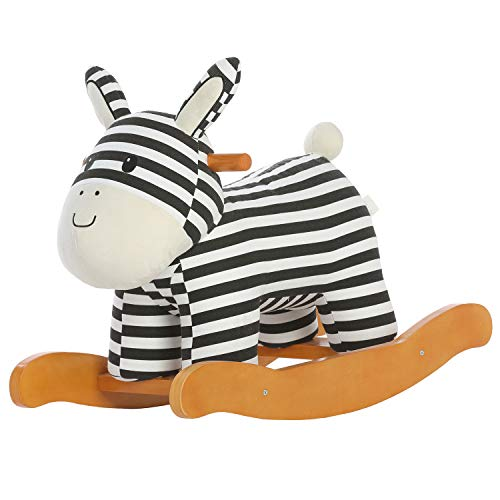 labebe Baby Rocking Horse Wooden, Plush Rocking Horse, Zebra Rocking Horse for Baby 1-3 Years, Wooden Rocking Horse/Baby Rocker/Toddler Rocker/Zebra Rocker/Baby Boy Rocker/Girl Rocking Horse