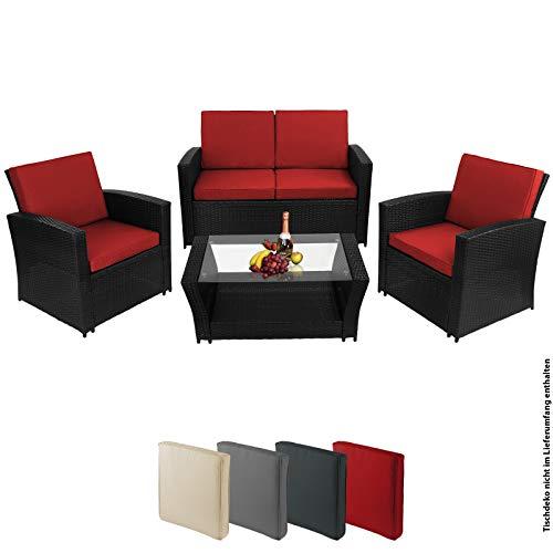 BB Sport 12-teilige Polyrattan Sitzgruppe 4 Personen 5 cm Sitzpolster Tisch Balkonmöbel Set Sitzgarnitur Schwarz, Farbe:Titan-Schwarz/Abendsonne