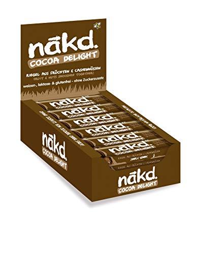 Nakd Cocoa Delight, köstlicher Fruchtriegel - Nussriegel - ohne Zuckerzusatz, vegan, laktosefrei, weizenfrei und glutenfrei, 18er Pack (18 x 35g)