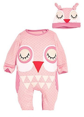Bigood Imprimé Animaux Pyjama Souple Grenouillère Cartoon Combinaison Chapeau Doux Hibou size80