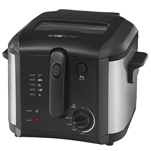 Clatronic FR 3649 Fritteuse, 1600 W, 2.5 L Öl/Fett Füllmenge, Stufenlos regelbarer Thermostat 130°C - 190°C, Edelstahlapplikation, schwarz