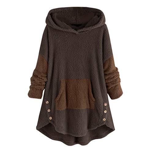 Lazzboy Winterjacken Frauen Fleece Patchwork Plüsch Knopf Saum Plus Size Hoodie Top Pullover Bluse Damen Fleecemantel Warme Button Mantel Plüschjacke Kapuzenpullover(Kaffee,L)