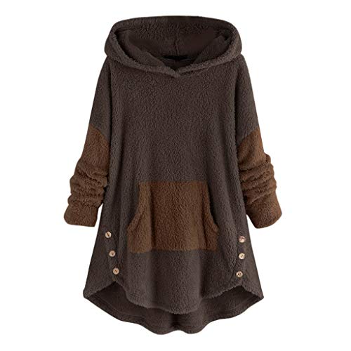 Lazzboy Winterjacken Frauen Fleece Patchwork Plüsch Knopf Saum Plus Size Hoodie Top Pullover Bluse Damen Fleecemantel Warme Button Mantel Plüschjacke Kapuzenpullover(Kaffee,L)