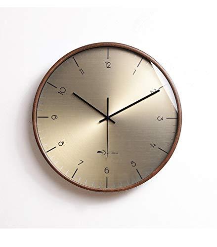 HY Cobre Madera del Reloj De Pared De Material Muda A Casa De Oro Reloj De Pared De La Sala De La Decoración del Reloj De Moda del Arte Luz 41 * 41cm