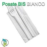 palucart® 500 posate bis bianco forchetta coltello tovagliolo monouso posate monouso imbustate lunghezza posate 16 cm