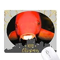 海洋生物の赤い魚動物 クリスマスイブのゴムマウスパッド