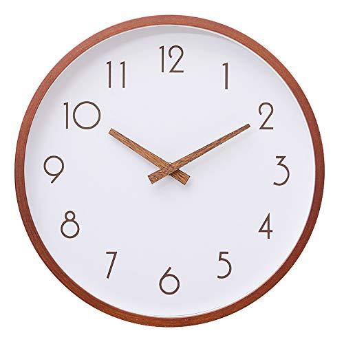 Relojes de Pared para Sala de Estar Reloj de Pared Moderno Marco de Madera Maciza y Tablero de Fibra de neutrones Compuesto de Pantalla de Seda de Alta definición Movimiento silencioso Vidrio de a