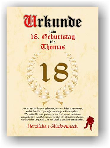 Urkunde zum 18. Geburtstag - Glückwunsch Geschenkurkunde personalisiertes Geschenk Gedicht Grußkarte Geschenkidee mit Spruch DIN A4