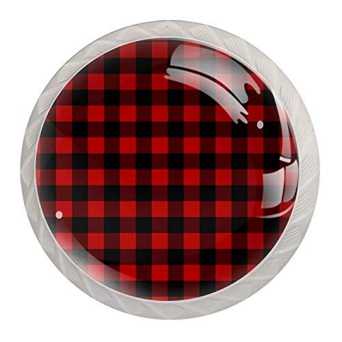 Runde Schubladenknöpfe mit Schrauben für Küche, Kommode, Schrank, Badezimmer, Kleiderschrank, Rot / Schwarz, 4 Stück