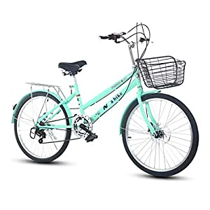 Cruiser Bikes DRAKE18 Women's bicycle, 24 inch 6 speed shift double disc brakes city light commuter retro ladies adult with car basket [tag]