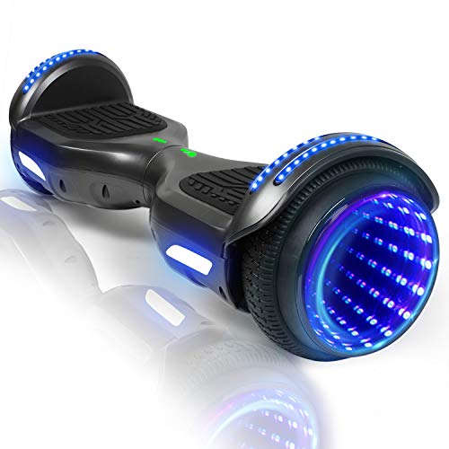 CBD Flash Hoverboard, Two-Wheel 6.5 inch Self Balancing Hoverboard with Bluetooth and LED Lights for Kids Adults, Black
