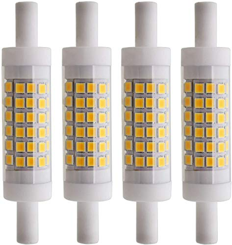 R7S 6W 78mm LED Leuchtmittel Keramik 70xSMD2835 Warm Weiß 3000K 480LM Nicht Dimmbar - J Typ Double Ended 60W R7s J78 Halogen Ersatz Glühlampe (4 Stück)