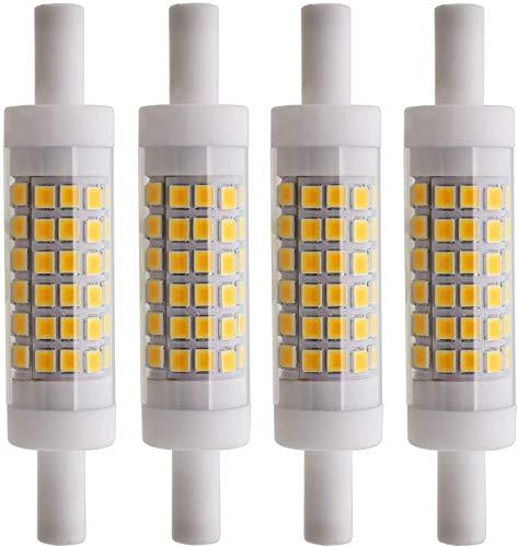 Bombillas LED de cerámica R7S 6W 78mm 70xSMD2835 Blanco cálido 3000K 480lm No compatible con atenuador - Bombilla halógena de repuesto tipo J de doble extremo 60W R7s (juego de 4)