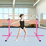 C-Chain Professional Gymnastics Junior Training Bar - Stainless Steel, Training Bar. 36'-59' Height Adjustable, Gymnasts 1-4 Levels, 220 lbs Weight Capacity, Ideal for Indoors, Home Practice (Pink)