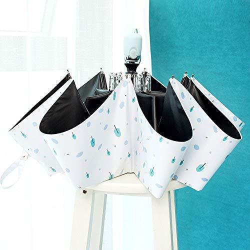 ZGMMM Sonnenschutz Automatische Frauen Regenschirm Anti-UV wasserdichte Taschenschirm Sonnenschirm Mann RegenWeiß