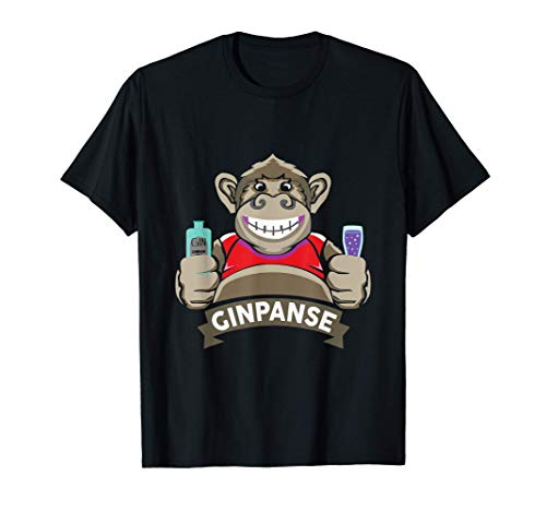 Gin Tonic Ginpanse Lustiges Affen Party Outfit Saufen Suff T-Shirt
