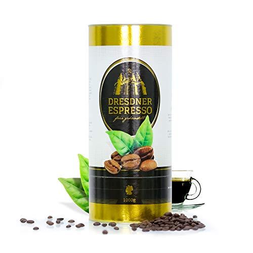 Dresdner Espresso - Kaffeebohnen, Espressobohnen aus biologischem Anbau / fair gehandelter Espresso Kaffee / rauchig, nussiger Geschmack mit Marzipannote / reiner Bohnenkaffee (mit Dose, 1000g)