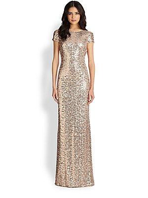 Badgley Mischka Vestido clásico con lentejuelas para mujer - dorado - 44