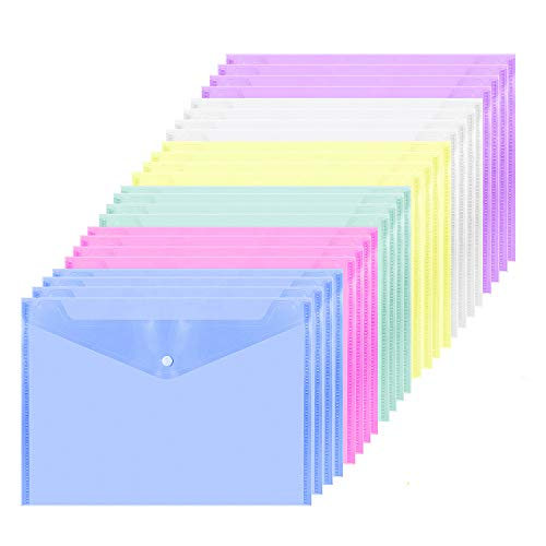 ZWOOS Cartelline Colore A4 Cartellina Portadocumenti Cartelle Plastica con Bottone per Documento Storage (24 pz)