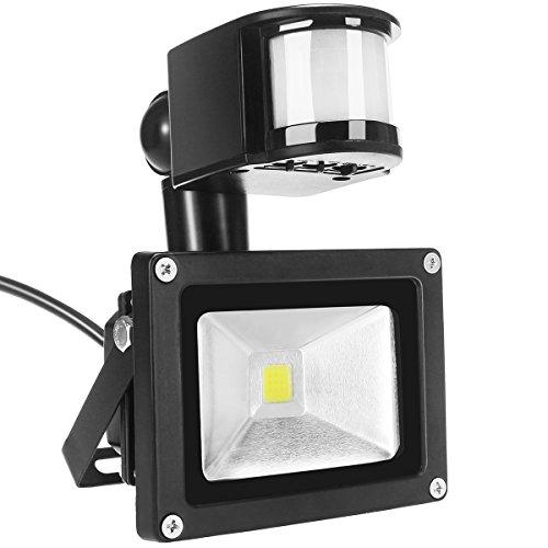 Faretto a LED Dizaul 10W IP65 Impermeabile,Sensore di Movimento PIR,Faretti da Esterni a LED ad Alta potenza CA 85V - 265V, Angolo Fasci di luce 120°, Colore Bianco Luce Calda