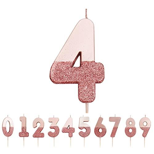 Talking Tables, Candela numero 4 con glitter oro rosa |Decorazione per torta di qualità premium |Bello, scintillante per bambini, adulti, quarantesimo compleanno, anniversario, pietra miliare