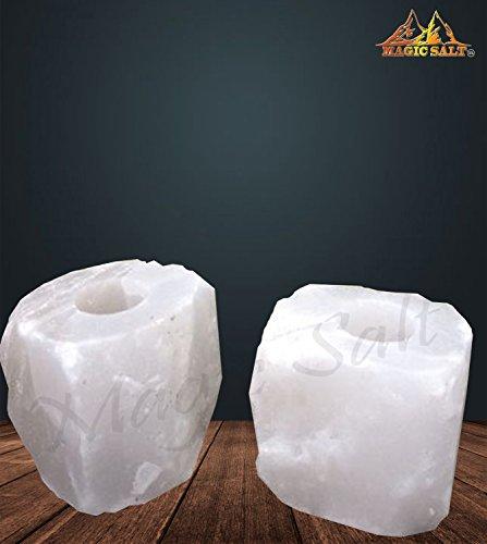 Magic Salt ® Salt Candle Tea Light Holders – Himalayan salt candle...