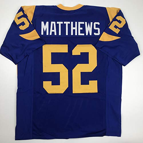 Unsigned Clay Matthews Los Angeles LA Retro Blue Custom Stitched Football Jersey Size Men's XL New No Brands/Logos