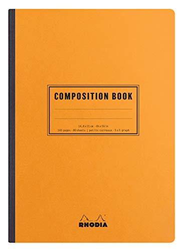 Rhodia 119208C – Notizbuch mit weicher Rückseite, Leinenstruktur, Buch, Orange, A5, 14,8 x 21 cm, kleine Karos, 5 x 5, 160 Seiten, weißes Papier, 80 g/m²