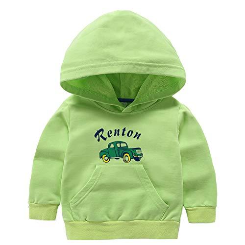Mornyray Toddle Petits Garçons Printemps Automne Coton Capuche À Manches Longues Pullover Cartoon Motif De Voiture 3-8 T Size 120 (Light Green)