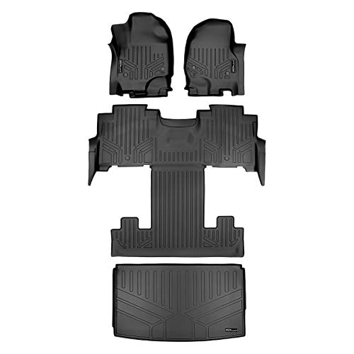 MAXLINER Floor Mats 3 Rows and Cargo Liner Behind 3rd Row Set Black for 2018-2021 Ford Expedition Max with 2nd Row Bucket Seats