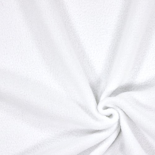 Fabulous Fabrics Fleece weiß, Uni, 150cm breit – Fleece zum Nähen von Decken und Kissen – Meterware erhältlich ab 0,5 m