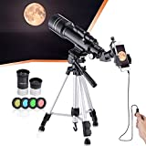 Telescopio astronómico profesional refractivo BNISE, alta ampliación HD, doble uso, adecuado para adultos o niños principiantes, portátil y equipado con trípode, adaptador de teléfono inteligente