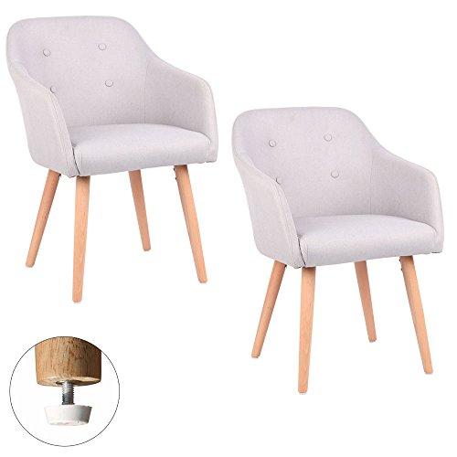 Kingpower 2/4/6/8 Set Stühle Esszimmerstühle Stuhl Sessel Armlehne Versch. Farben, Auswahl:2 Sessel - Hellgrau