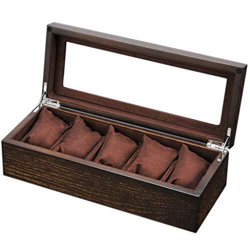 SMEJS Caja de Almacenamiento - Caja de Reloj de Madera claraboya de 5 bits Caja de exhibición de Reloj Colección Caja de Almacenamiento Caja de joyería