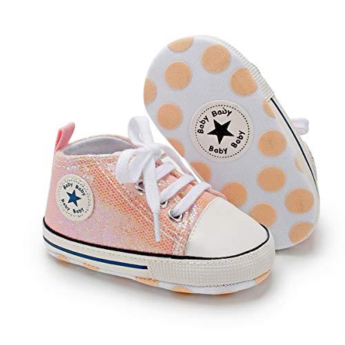 Tutoo Unisex Baby Boys Girls High Top Sneaker Soft Anti-Slip Sole Newborn Infant First Walkers Canvas Denim Shoes