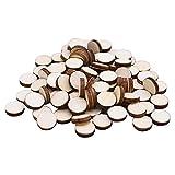 MY99 USHOMI 100 Uds círculos de Madera Discos Redondos Recorte de Madera en Blanco Manualidades artesanales Adornos de Madera para tableros de Juegos Navide?os 1x1cm