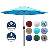 Blissun 9' Outdoor Aluminum Patio Umbrella, Market Striped Umbrella with Push Button Tilt and Crank (Light Blue)