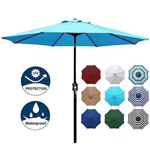 Blissun 9ft Patio Umbrella, Manual Push Button Tilt and Crank Garden Parasol (Light Blue)