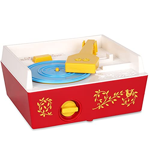 Basic Fun Fisher Price Classic Toys - Retro Music Box Record Player - Great Pre-School Gift for Girls and Boys (01697) , Blue/Yellow/White