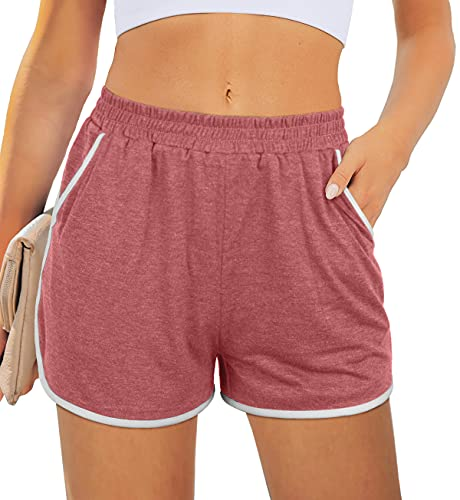 XIEERDUO Gym Shorts for Women Active Exercise Dolphin Elastic Waist Shorts for Women Brick Red S