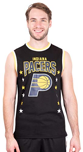 Ultra Game NBA Indiana Pacers Mens Jersey Sleeveless Muscle T-Shirt, Black, X-Large