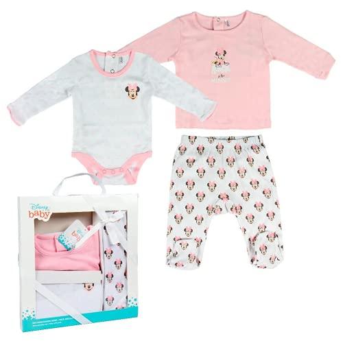 Minnie Mouse 2200005549 Set regalo bebés, Rosa/Blanco, 1 A 3 meses