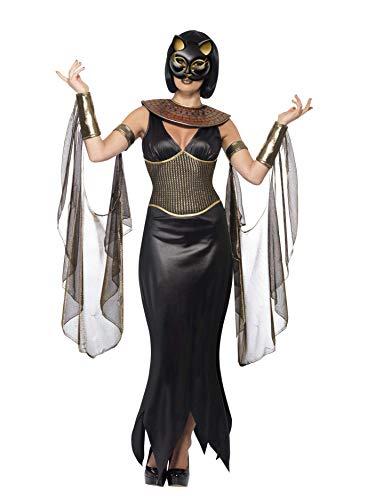 Halloween! Smiffys Kostüm Bastet, die Katzengöttin, Schwarz, mit Kleid, Kragen, drapierten Ärmeln und Maske