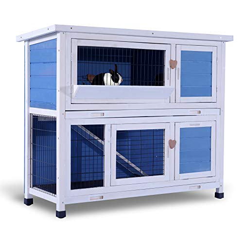 Lovupet 2 Story Outdoor Wooden Rabbit Hutch Chicken Coop Bunny Cage Guinea Pig House with Ladder for Small Animals (Blue)