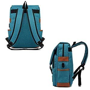 41tcD4YHsLL. SS300  - Junlion Mochila Portátil para Negocios Unisex Mochila Escolar para Estudiantes Universitarios Mochila de Viaje Mochila con Puerto de Carga USB Azul