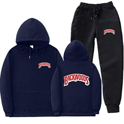 GIRLXV Sudaderas De Moda para Hombre Y Mujer Backwoods Sudaderas Y Pantalones con Capucha Conjunto De Abrigo Jersey con Capucha L