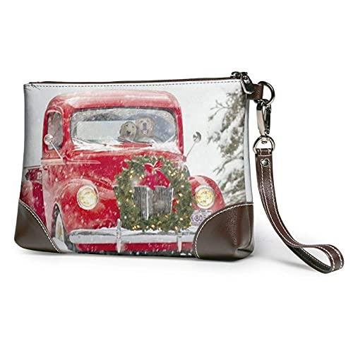 XCNGG Bolso de mano con estampado de camión rojo vintage, bolso de mano de cuero desmontable, bolso de mano para mujer